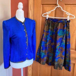 Vintage 1970s Leslie Fay blue sweater skirt set